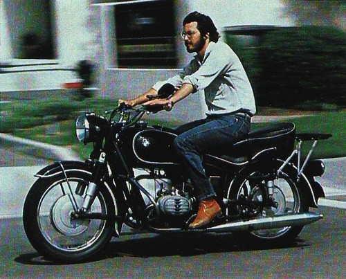 Steve Jobs on a BMW Motorcycle